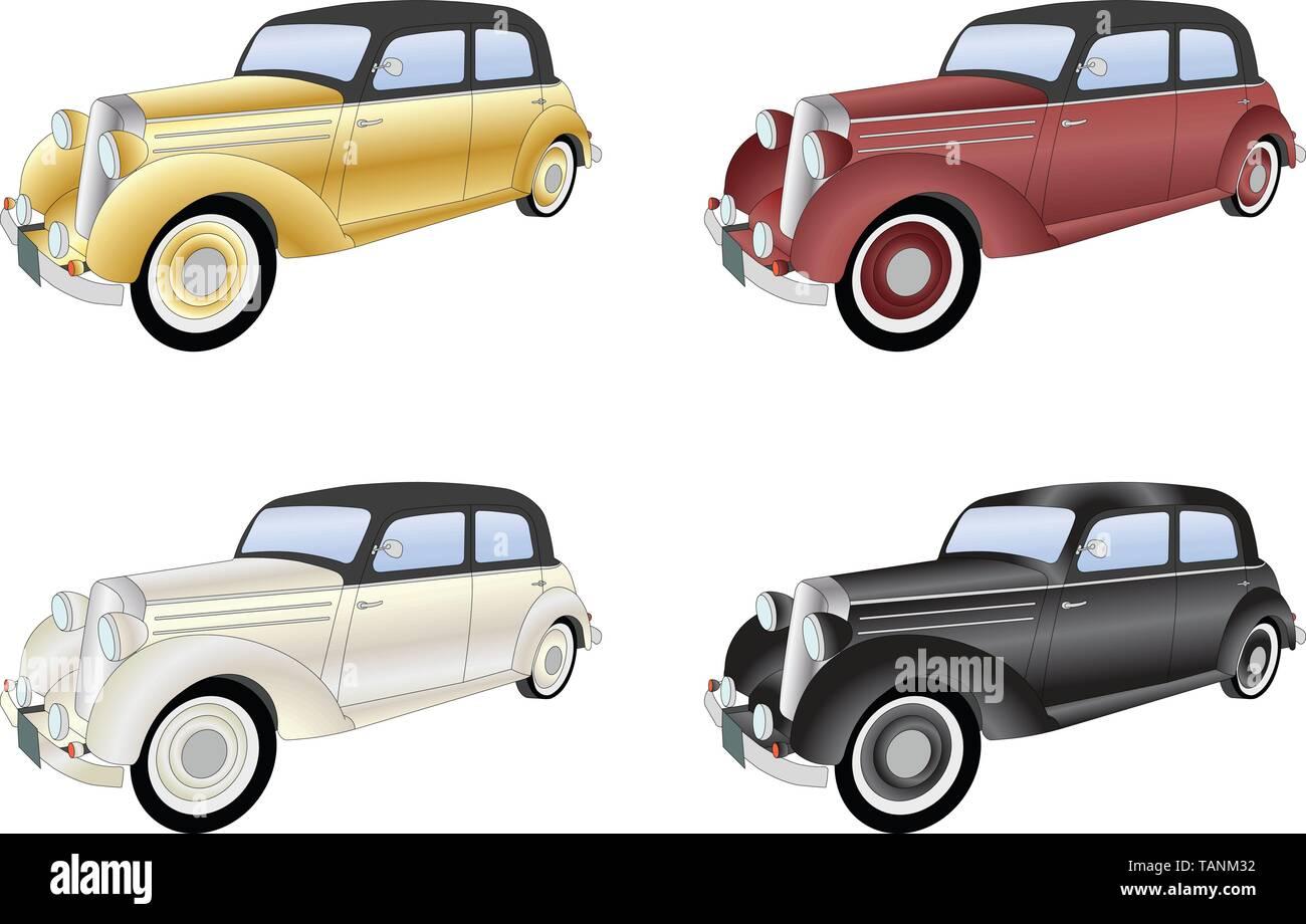 old timer vintage car - vector illustration - Stock Image