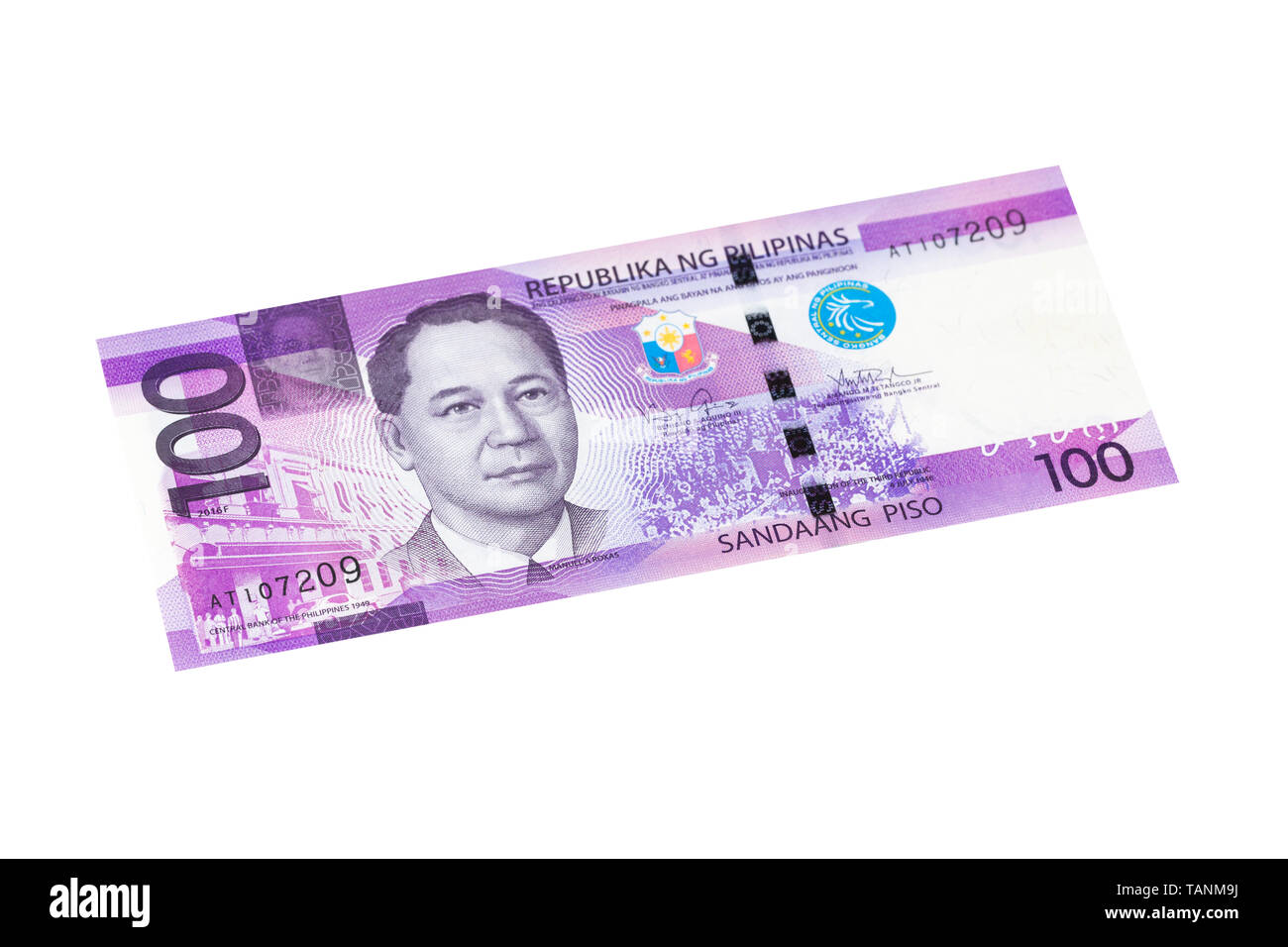 Philippine one hundred peso banknote on a white background - Stock Image