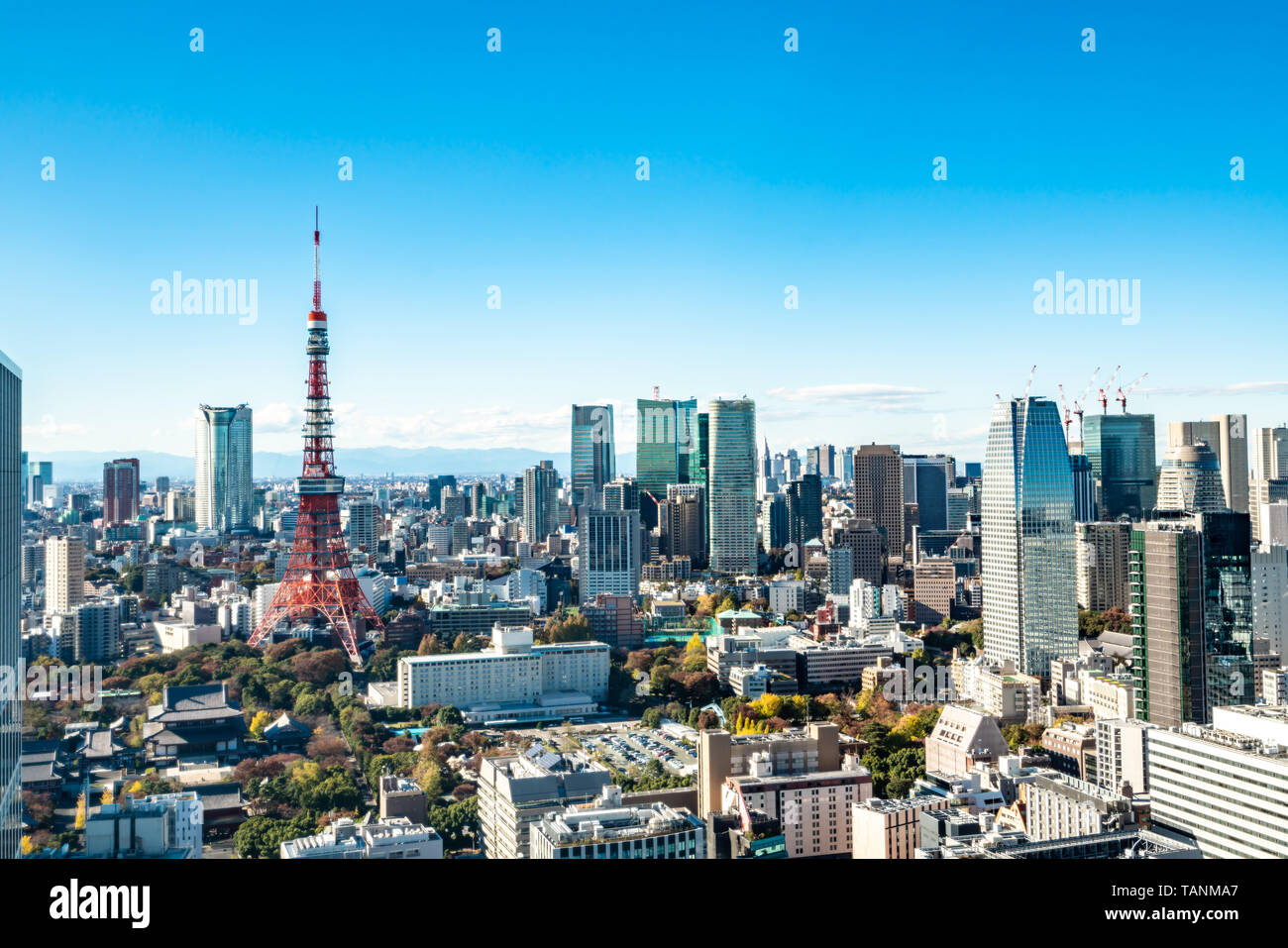 Tokyo cityscape - modern aerial view with Roppongi and Minato wards. - Stock Image