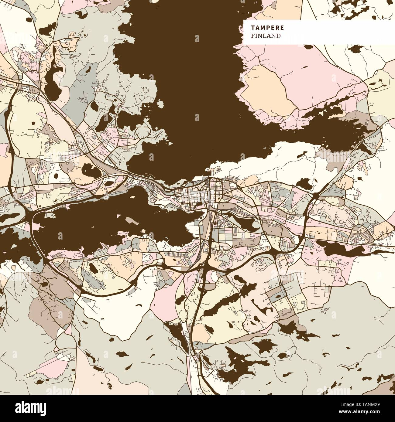 Map of Tampere Finland, art map print template. Brown colored version for Apps, Print or web backgrounds - Stock Vector
