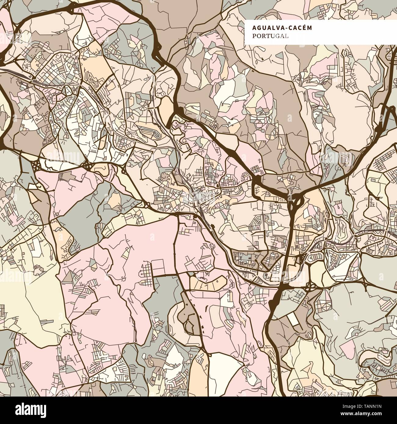 Map Of Agualva Cacem Brown Colored Version For Apps Print Or Web
