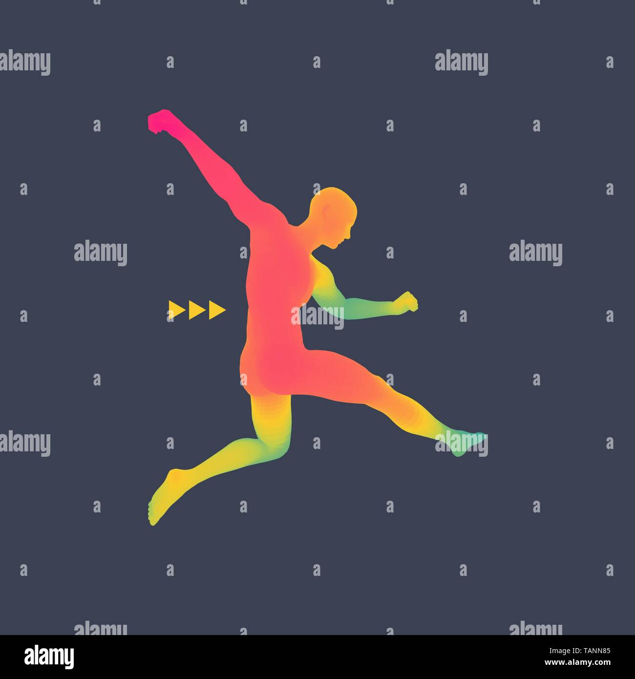 Football player. Sports concept. 3D Model of Man. Human Body. Sport Symbol. Design Element. Vector Illustration. - Stock Vector