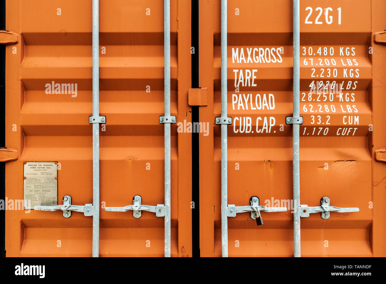 UDINE, ITALY, JULY 30, 2012: Intermodal container door close-up. - Stock Image
