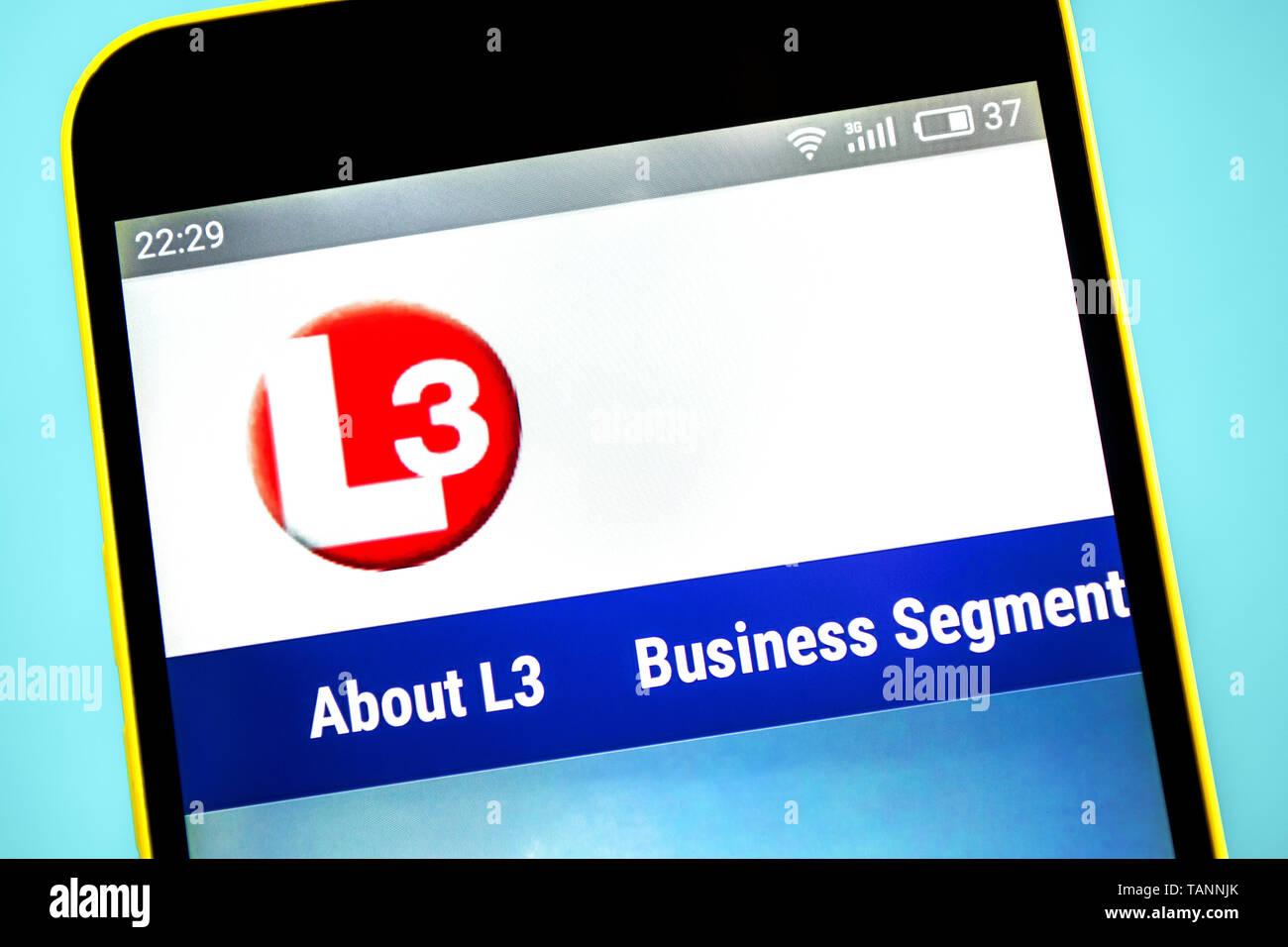 Berdyansk, Ukraine - 23 May 2019: L3 Technologies aerospace website homepage. L3 Technologies logo visible on the phone screen Stock Photo
