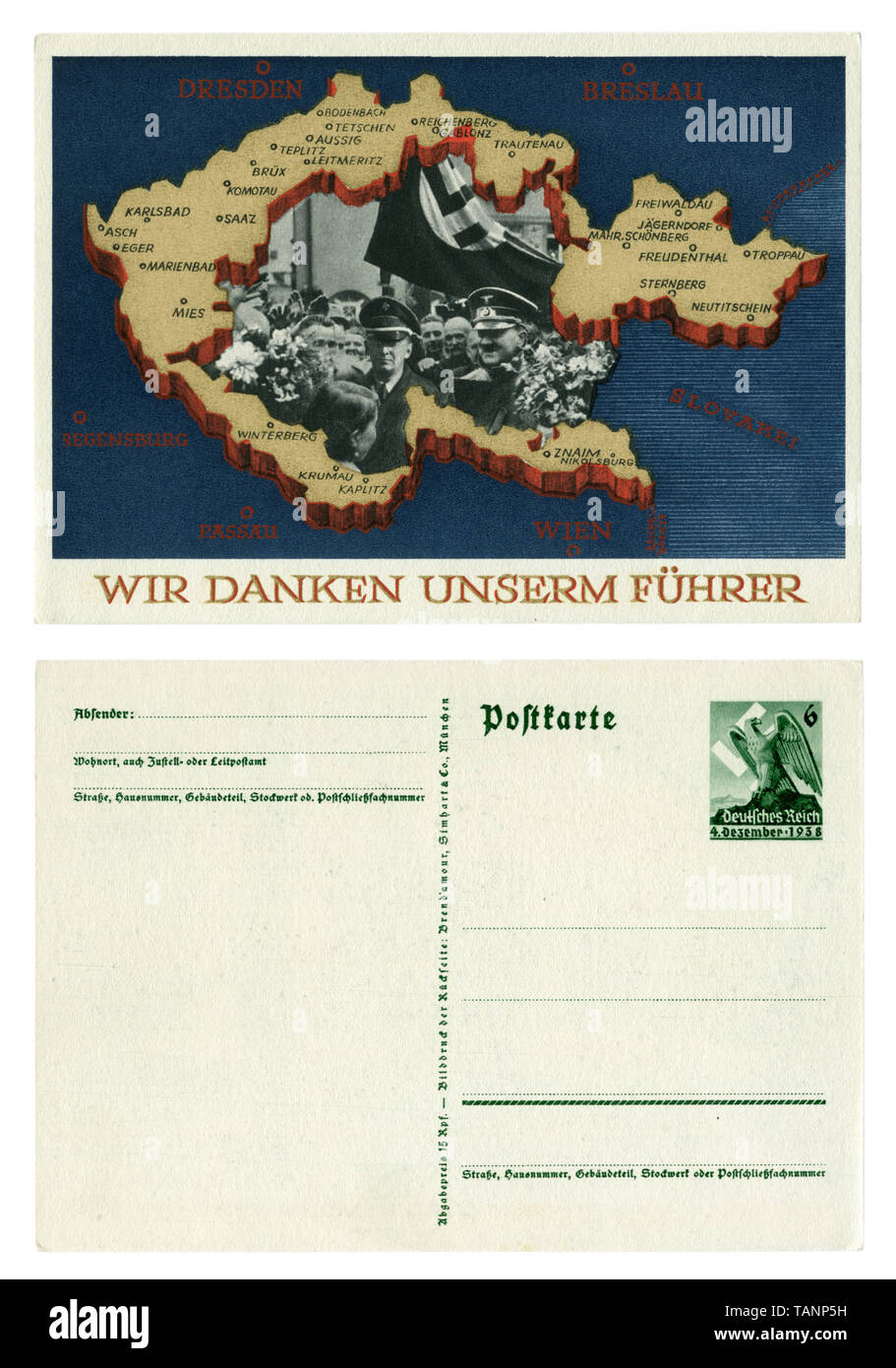 German historical postcard: Plebiscite on the accession of the Sudetenland. Annexation of portions of Czechoslovakia. 29 September 1938, Blank reverse Stock Photo