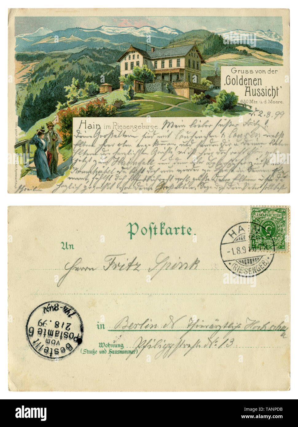 German historical advertising chromolithographic postcard: Mountain landscape with hotel 'Goldenen Aussicht'. Tourists guest house. Back side, 1899 - Stock Image
