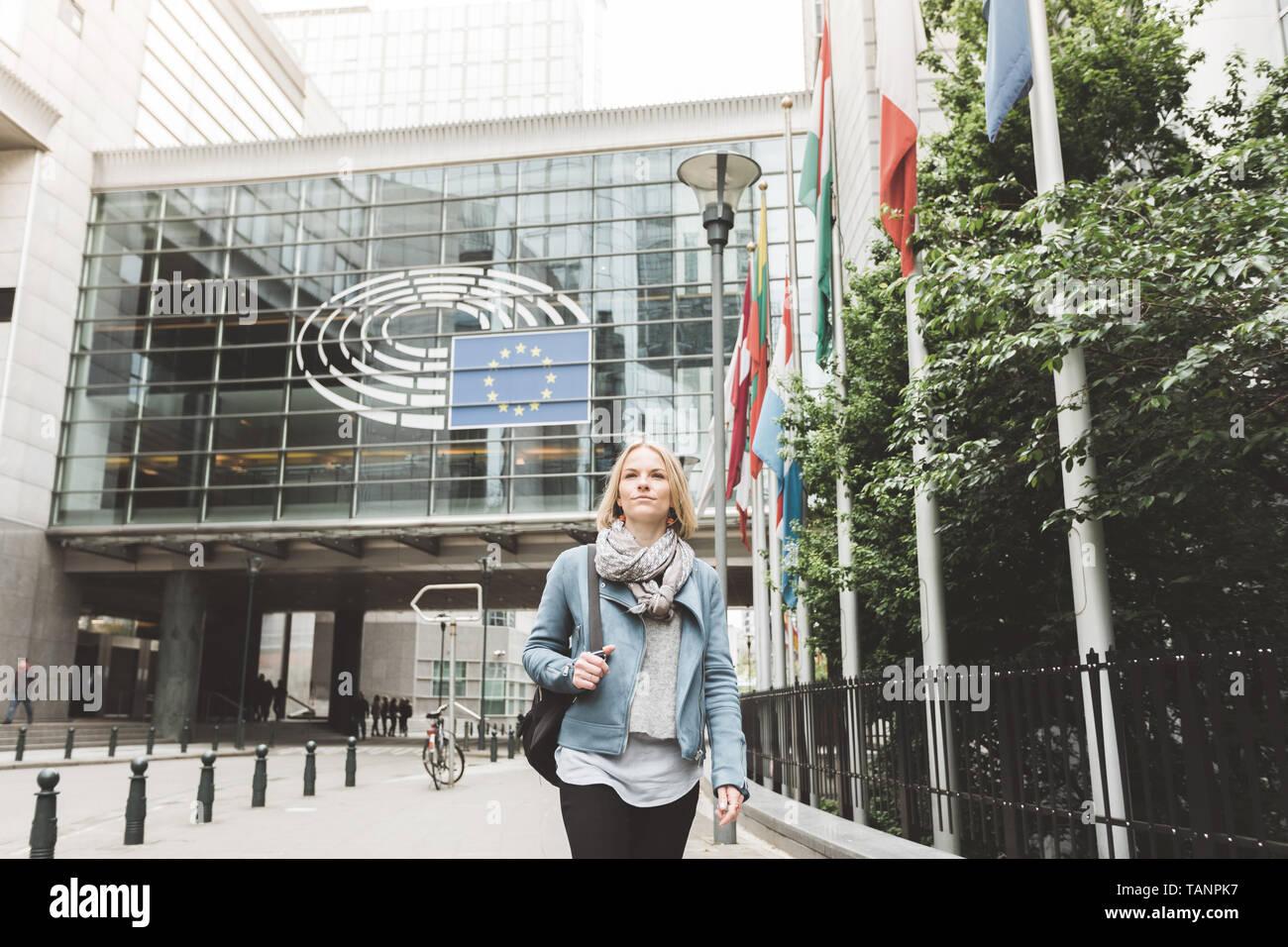 Woman in Brussels, Belgium. - Stock Image
