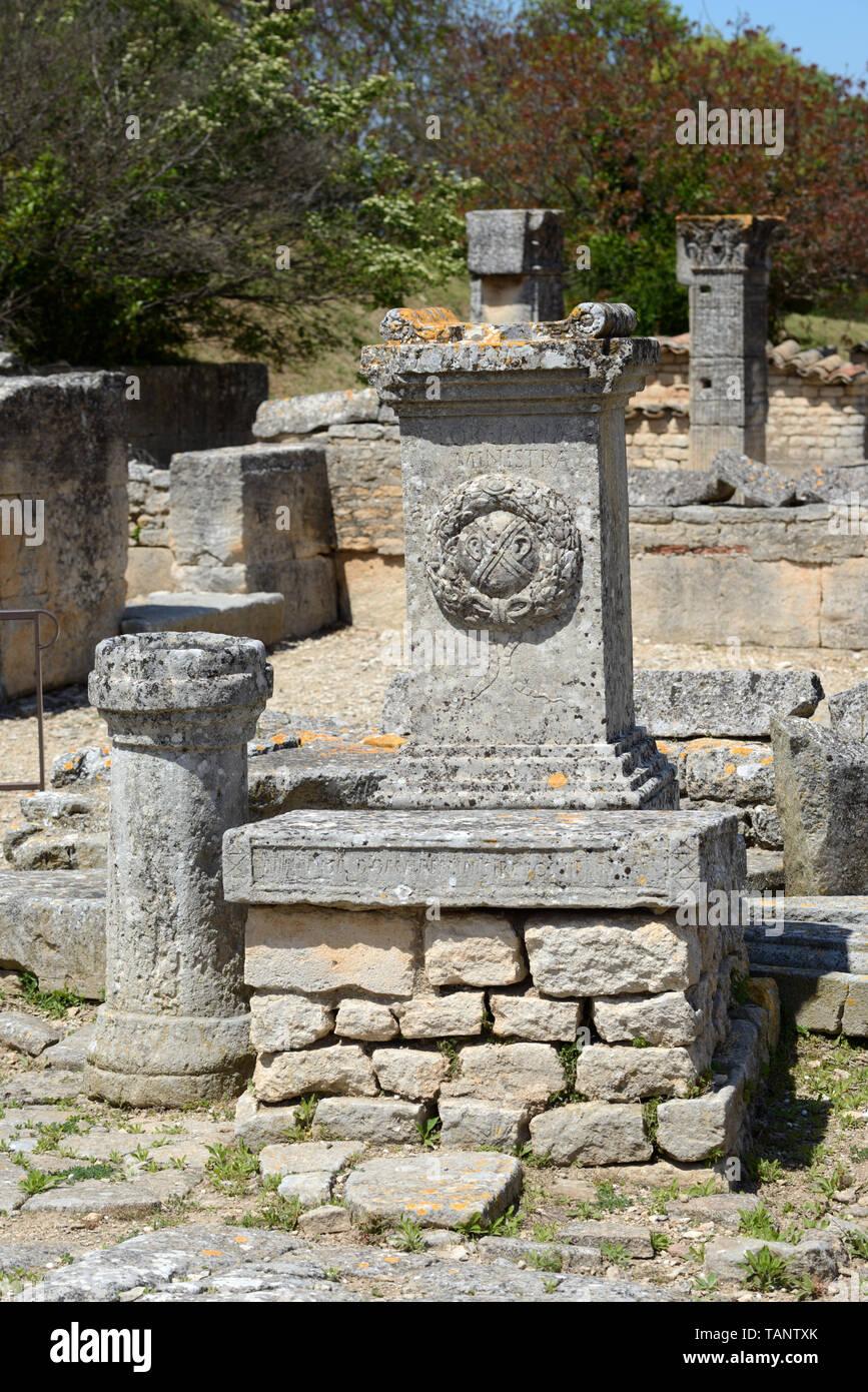 Roman Votif Altar in Ancient Roman City of Glanum Saint-Rémy-de-Provence Provence France - Stock Image