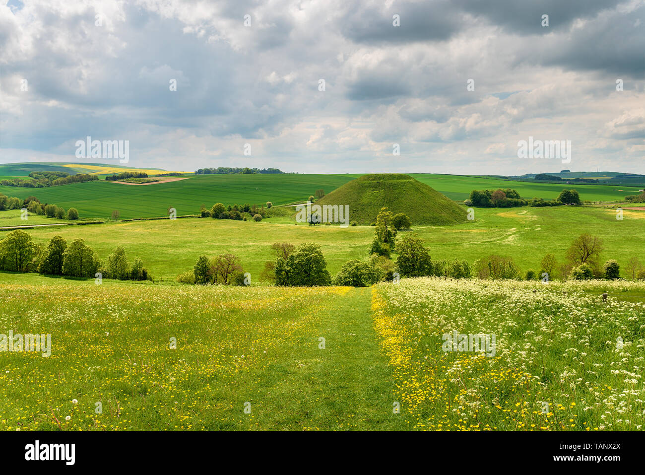 Silbury Hill a Neolithic monument near Avebury in the Wiltshire countryside - Stock Image
