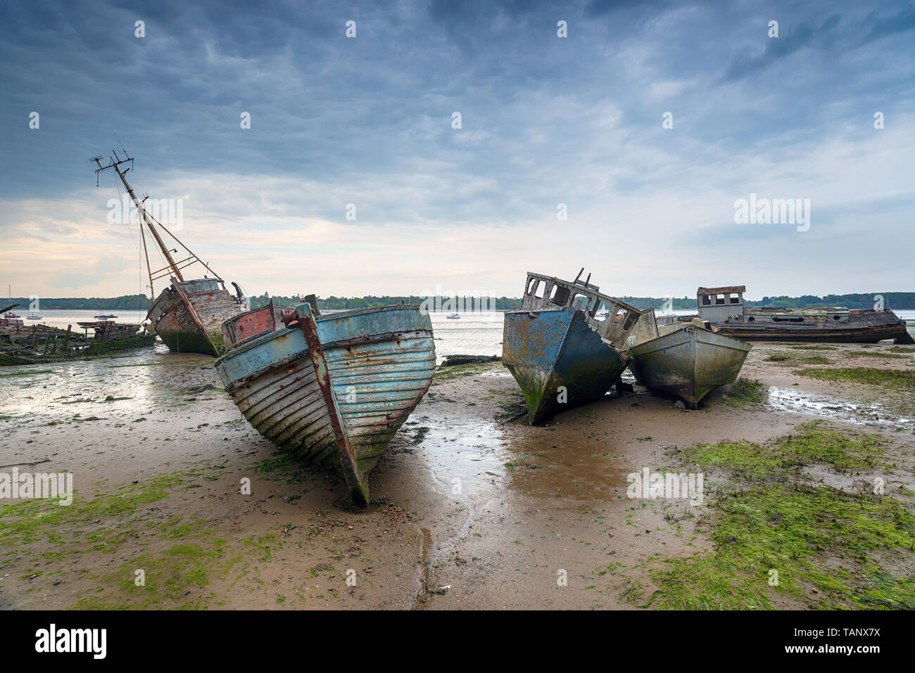 Abandoned fishing boats under a brooding sky at Pin Mill on the River Orwell near Ipswich on the Suffolk coast Stock Photo