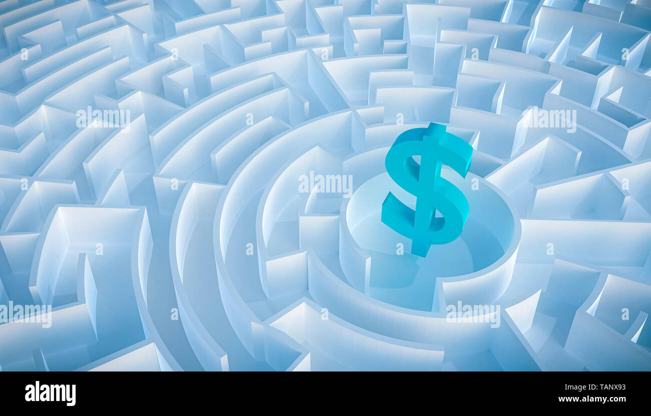 Circular maze or labyrinth with dollar symbol or sign in its center. 3d render illustration. Business and finance concepts. How to earn money or way t - Stock Image