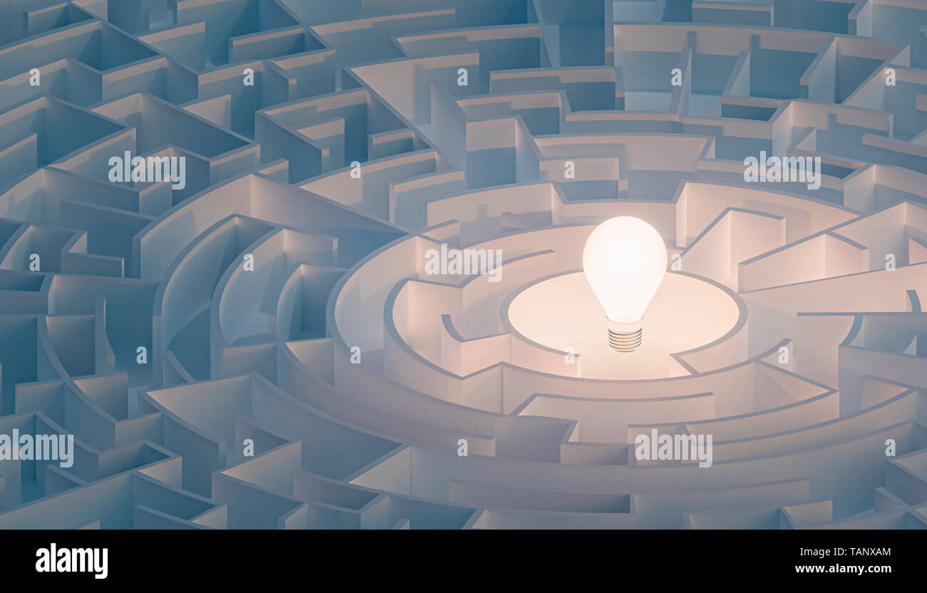 Circular maze or labyrinth with light bulb in its center. Puzzle, riddle, intelligence, thinking, solution, IQ concepts. 3d render illustration. - Stock Image