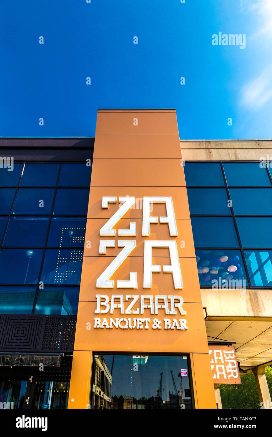 Front of the Za Za Bazaar buffet restaurant, Bristol, UK - Stock Image