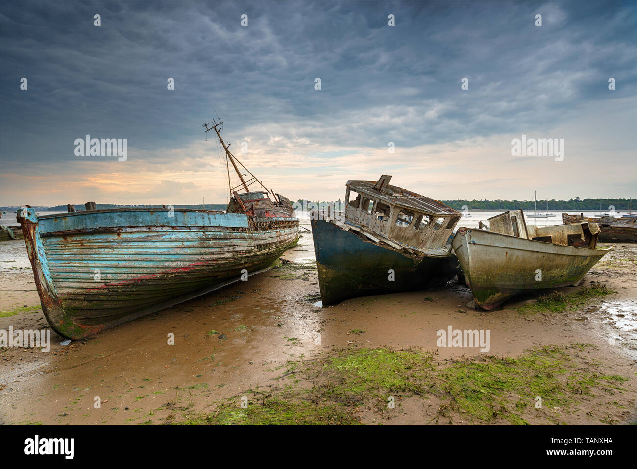 Old abandoned fishing boats on the River Orwell estuary at pin Mill on the coast of Suffolk Stock Photo