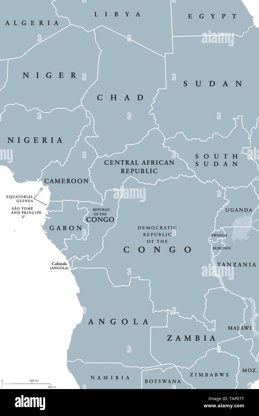 Central Africa region, political map. Area with borders. Core region of the African continent, also called Middle Africa. Gray illustration. - Stock Image