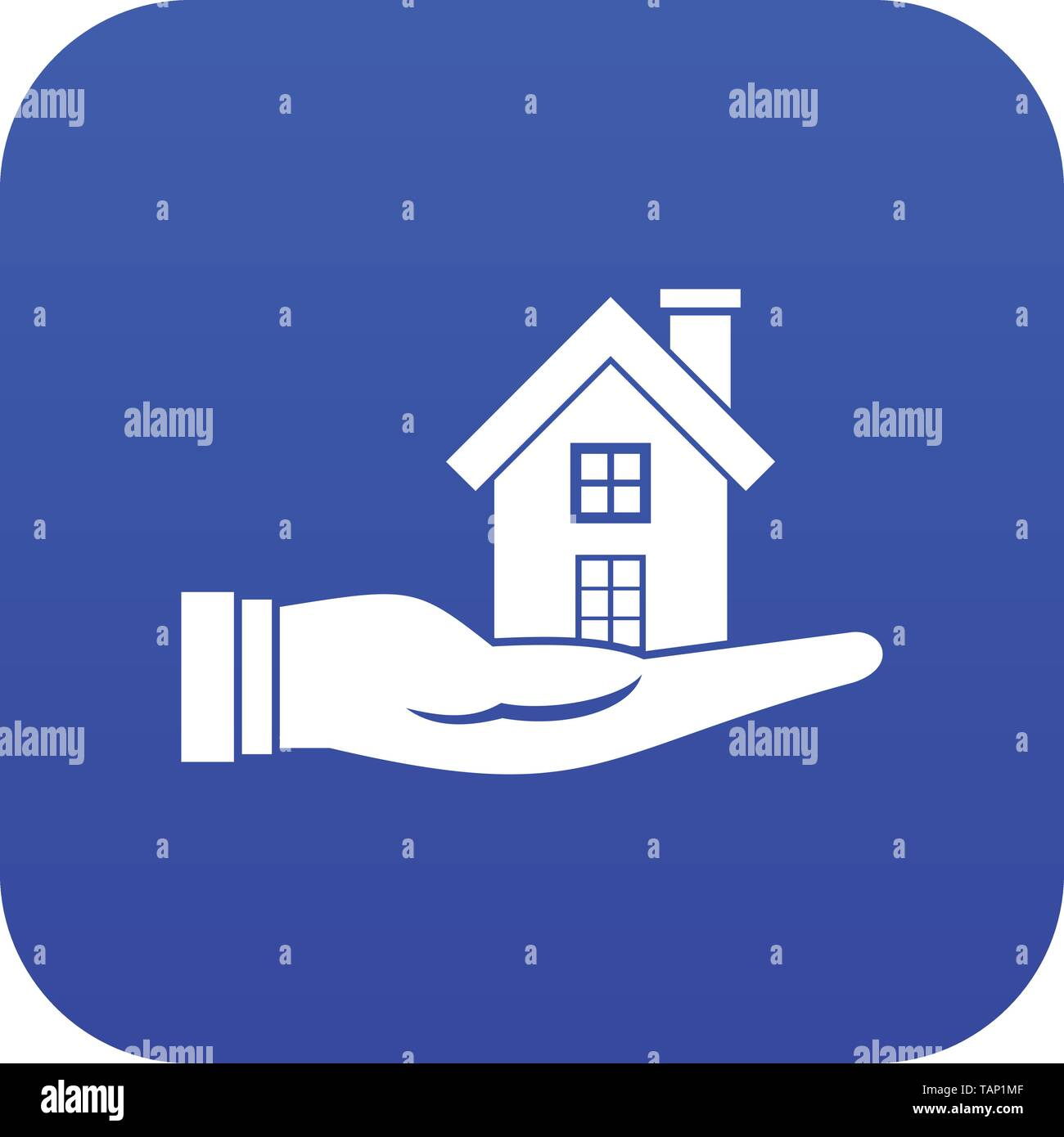 House in hand icon digital blue - Stock Image