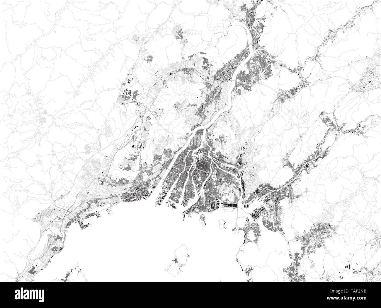 Satellite map of Hiroshima, it is the capital of Hiroshima ...