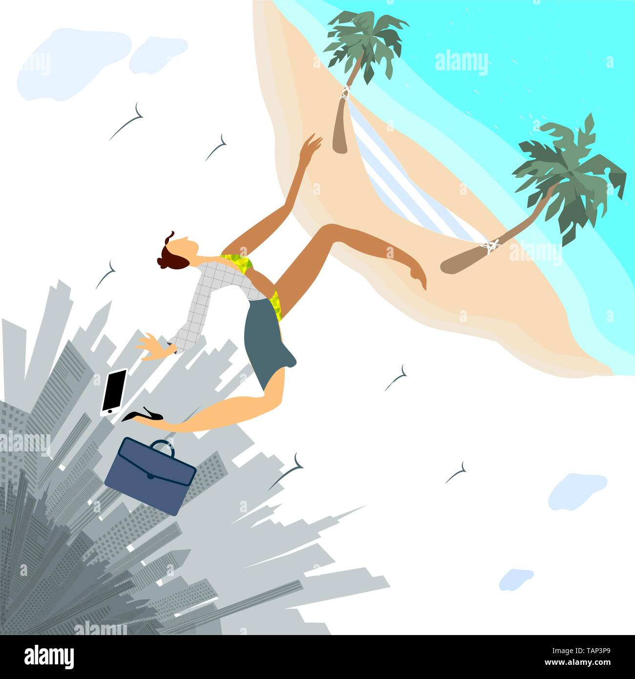 Woman left her work in metropolis for vacation - Stock Vector