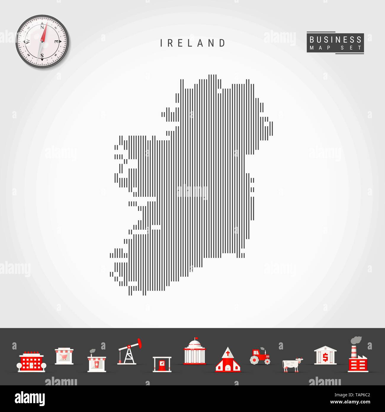 Vector Vertical Lines Pattern Map of Ireland. Striped Simple Silhouette of Ireland. Realistic Vector Compass. Business Infographic Icons. - Stock Vector