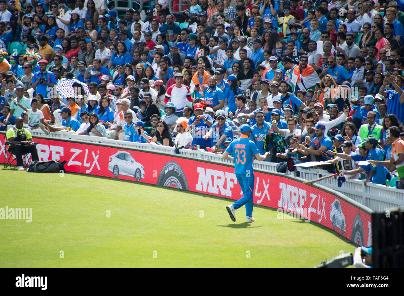 Indian cricket fans at ICC 2019 India vs NewZeland warm up match at the Kia Oval, London Stock Photo