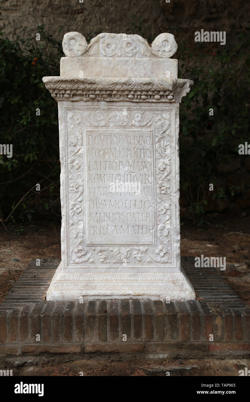 Spain. Seville. Alcazar. Roman marble funerary altar with inscription. Unknown provenance. - Stock Image