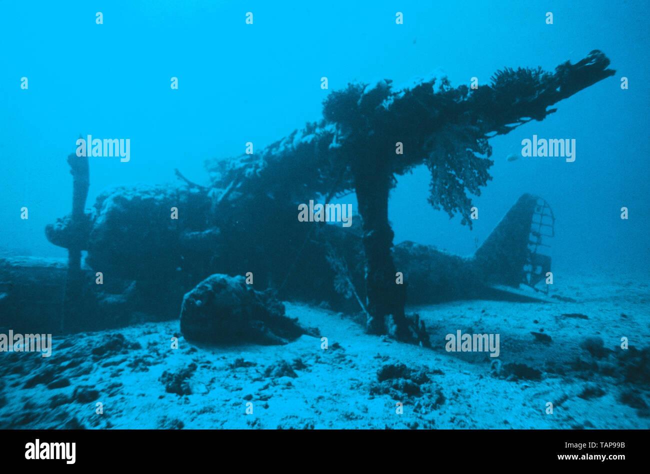 Papua New Guinea. Rabaul.  Underwater view of World War 2 Japanese Mitsubishi F1M floatplane wreckage 'Pete'. - Stock Image