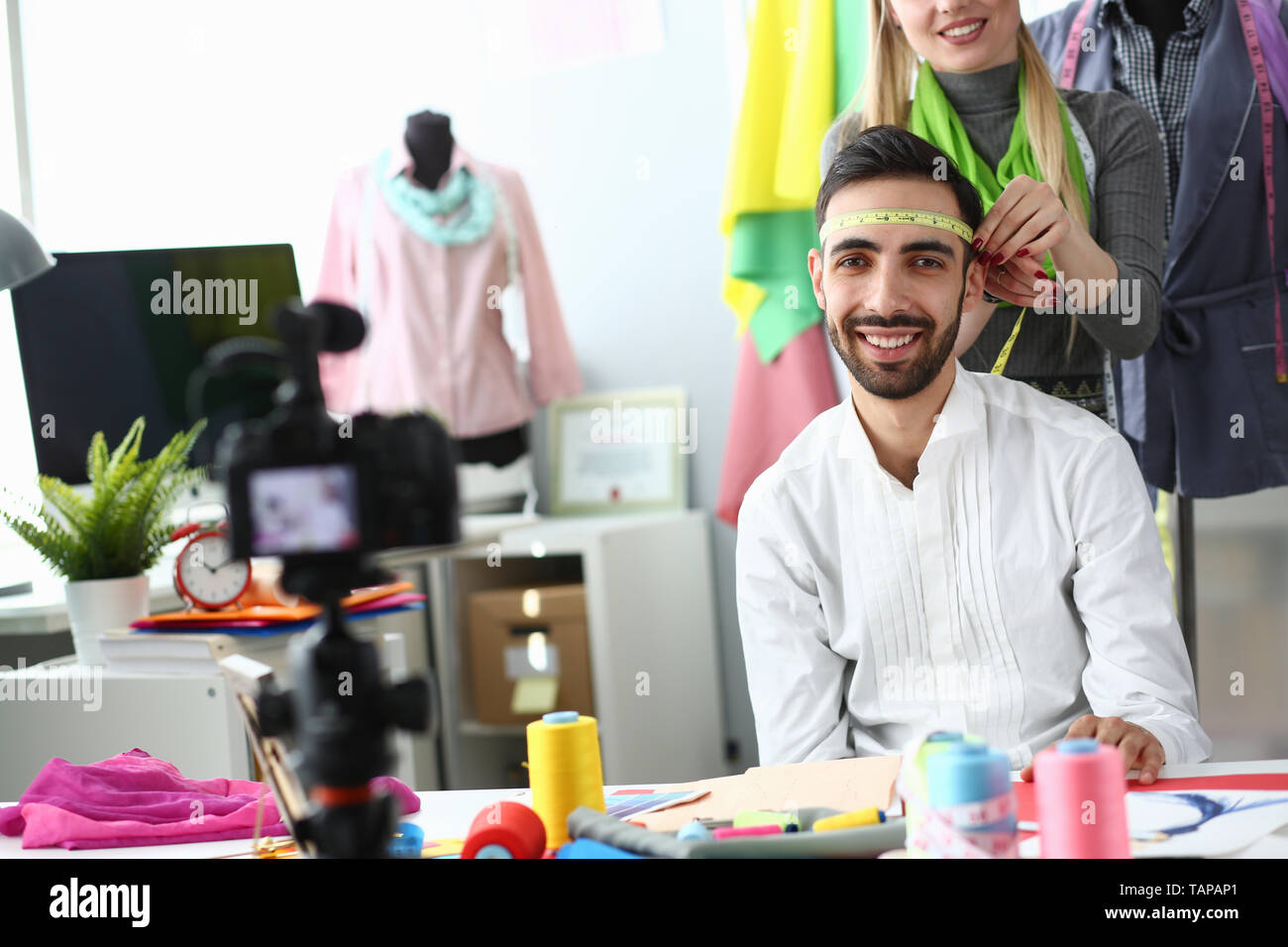 Funny Fashion Vlog Clothes Production Concept - Stock Image