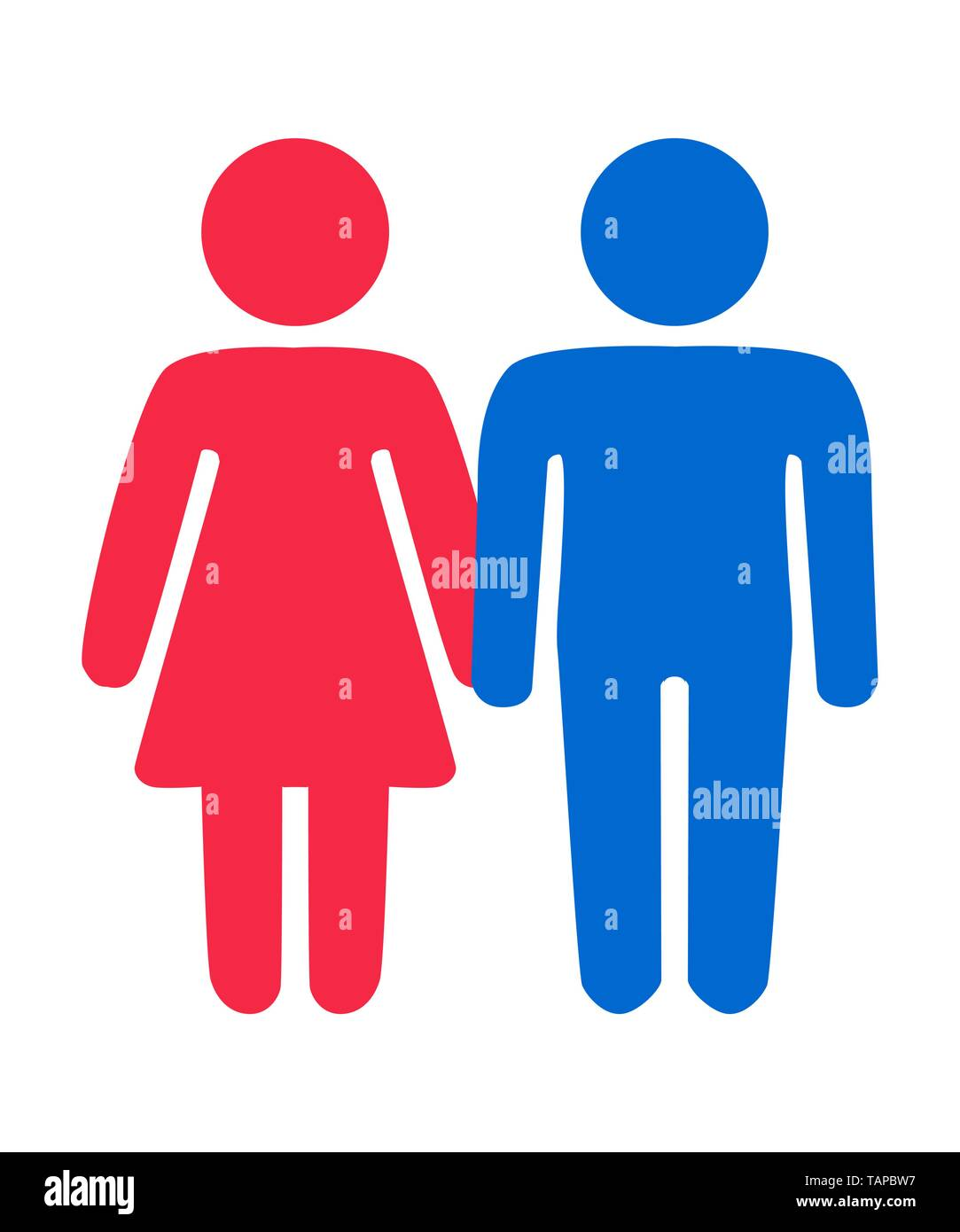 Couple in love. Heterosexual romantic date. Man and woman with heart shape above. - Stock Image