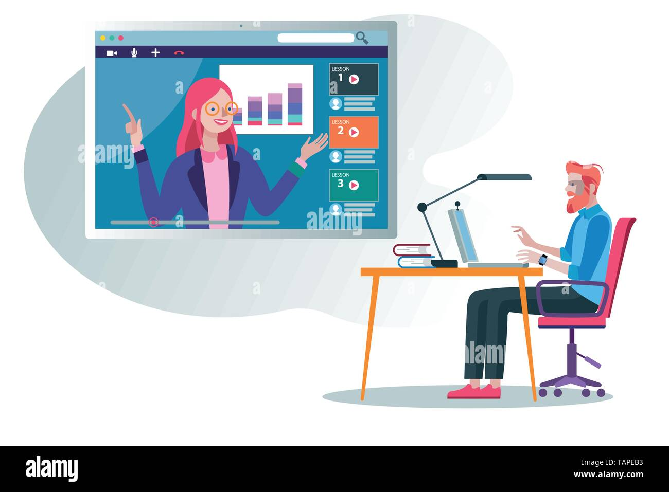 A business Man following an online education and e-learning course through his laptop computer with a online professional teacher. Flat design illustr - Stock Image