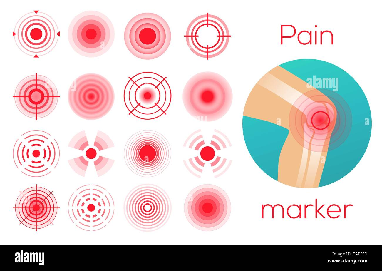 Red circles, pain place symbol, sore localization marks, aching place - Stock Vector