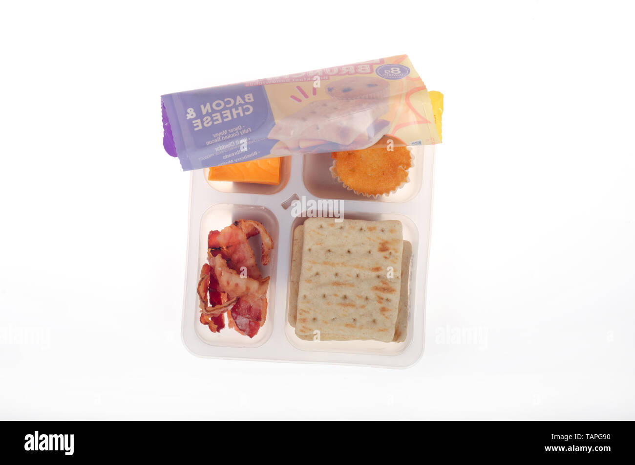 Oscar Mayer Brunchables with bacon, cheese, crackers and muffin - Stock Image
