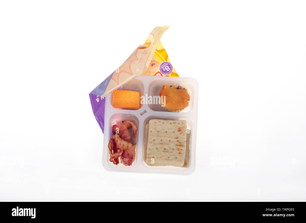 Oscar Mayer Brunchables with bacon, cheese, crackers and a muffin - Stock Image