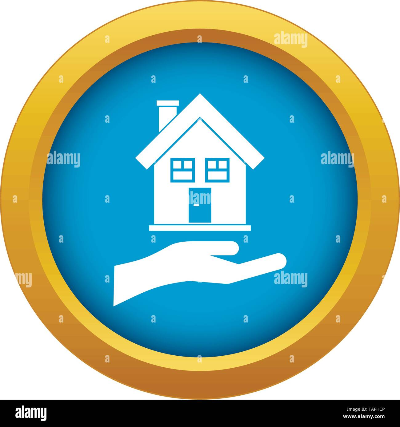 Hand holding house icon blue vector isolated - Stock Image