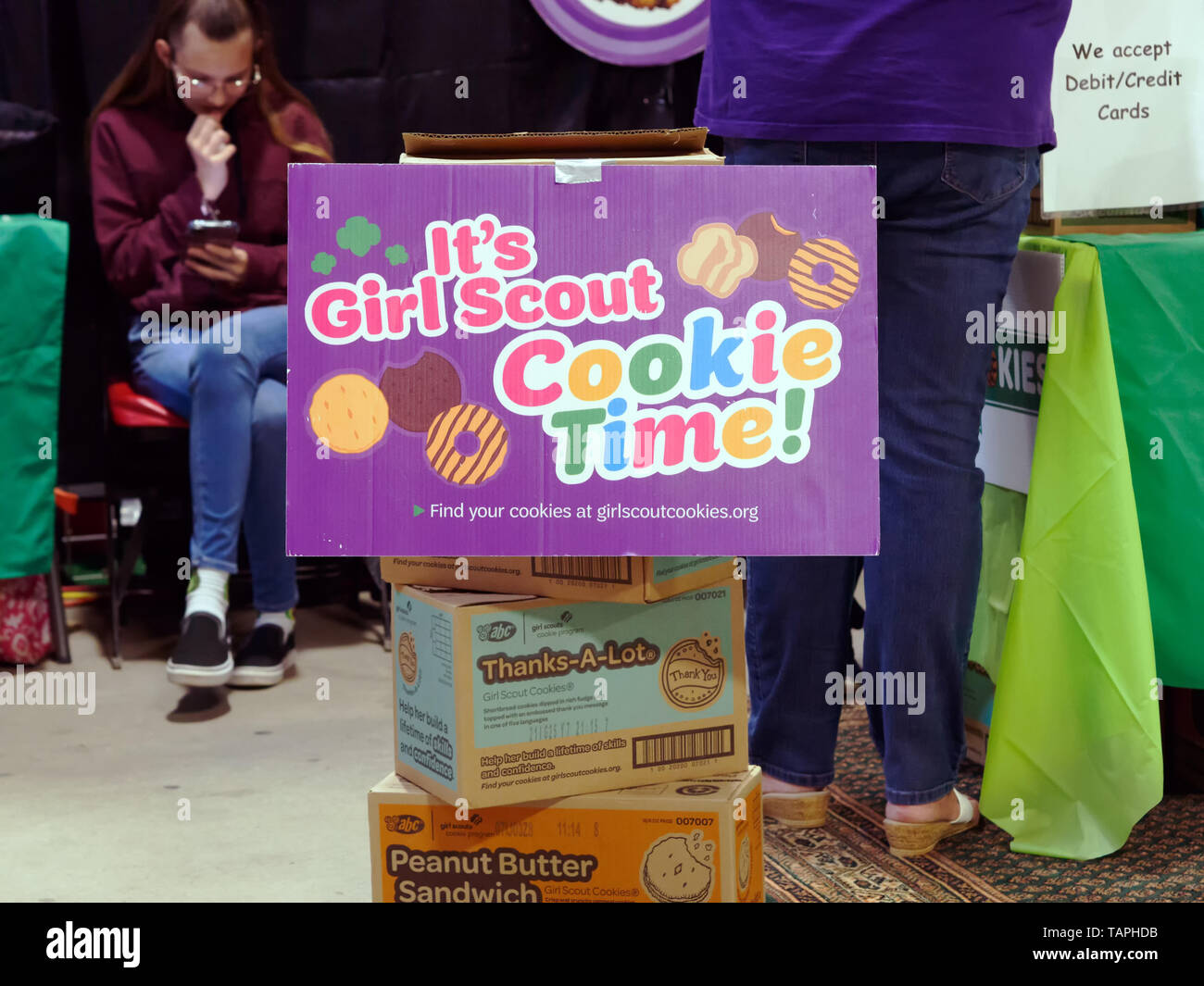 Girl Scout Cookie sales at the Country Peddler Show. Richard M. Borchard Regional Fairgrounds Robstown Texas USA. - Stock Image
