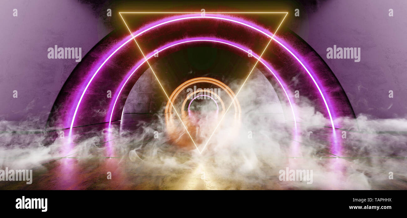 Smoke Futuristic Oval Circle Neon Glowing Purple Yellow Triangle Shaped Laser Beam Lights On Concrete Grunge Floor Reflective Tunnel Corridor Dark Ent - Stock Image