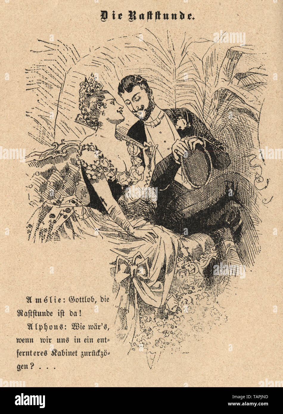 Victorian Cartoon of young couple flirting, 1880s, German Stock Photo