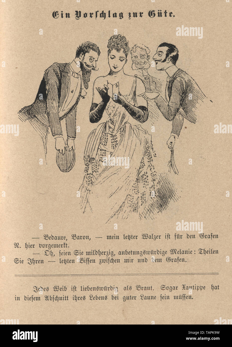 Victorian Cartoon of group of men flirting with a beautiful young woman holding a dance card, 1880s, German Stock Photo