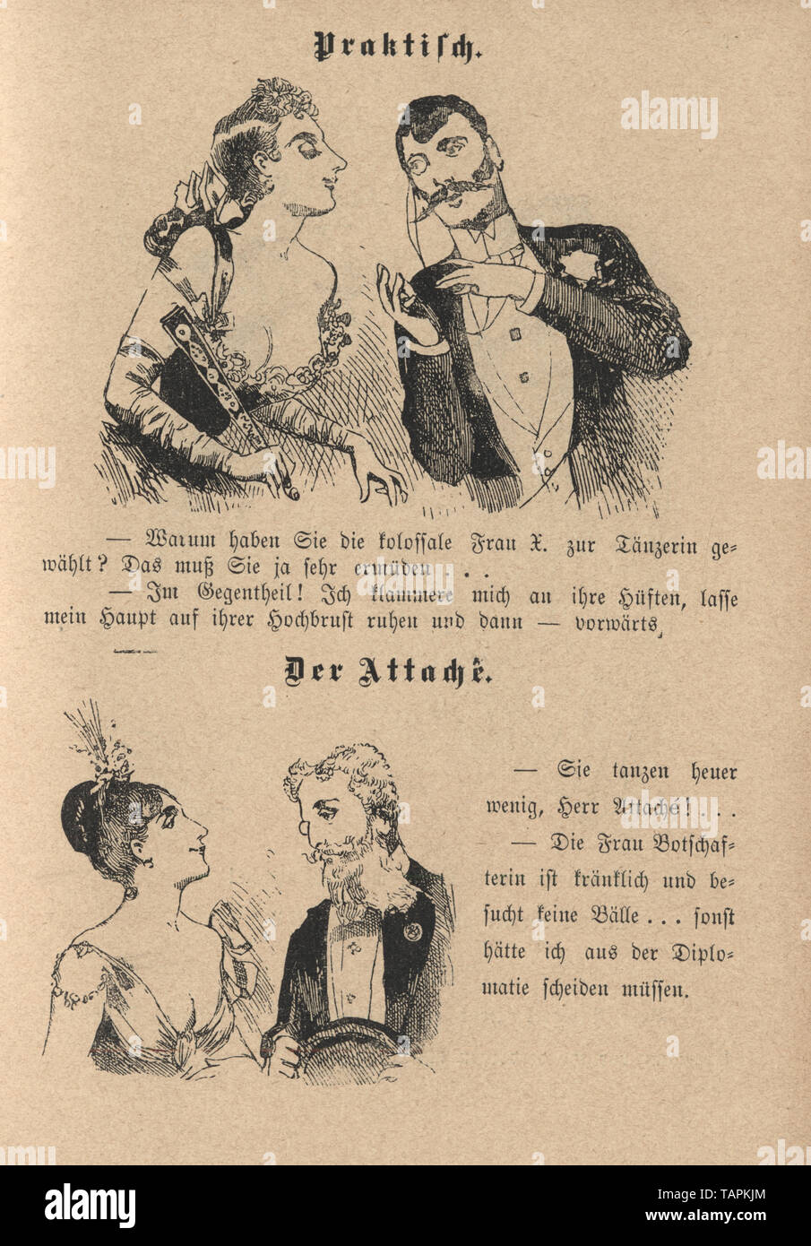 Victorian Cartoon of young couples flirting, 1880s, German Stock Photo