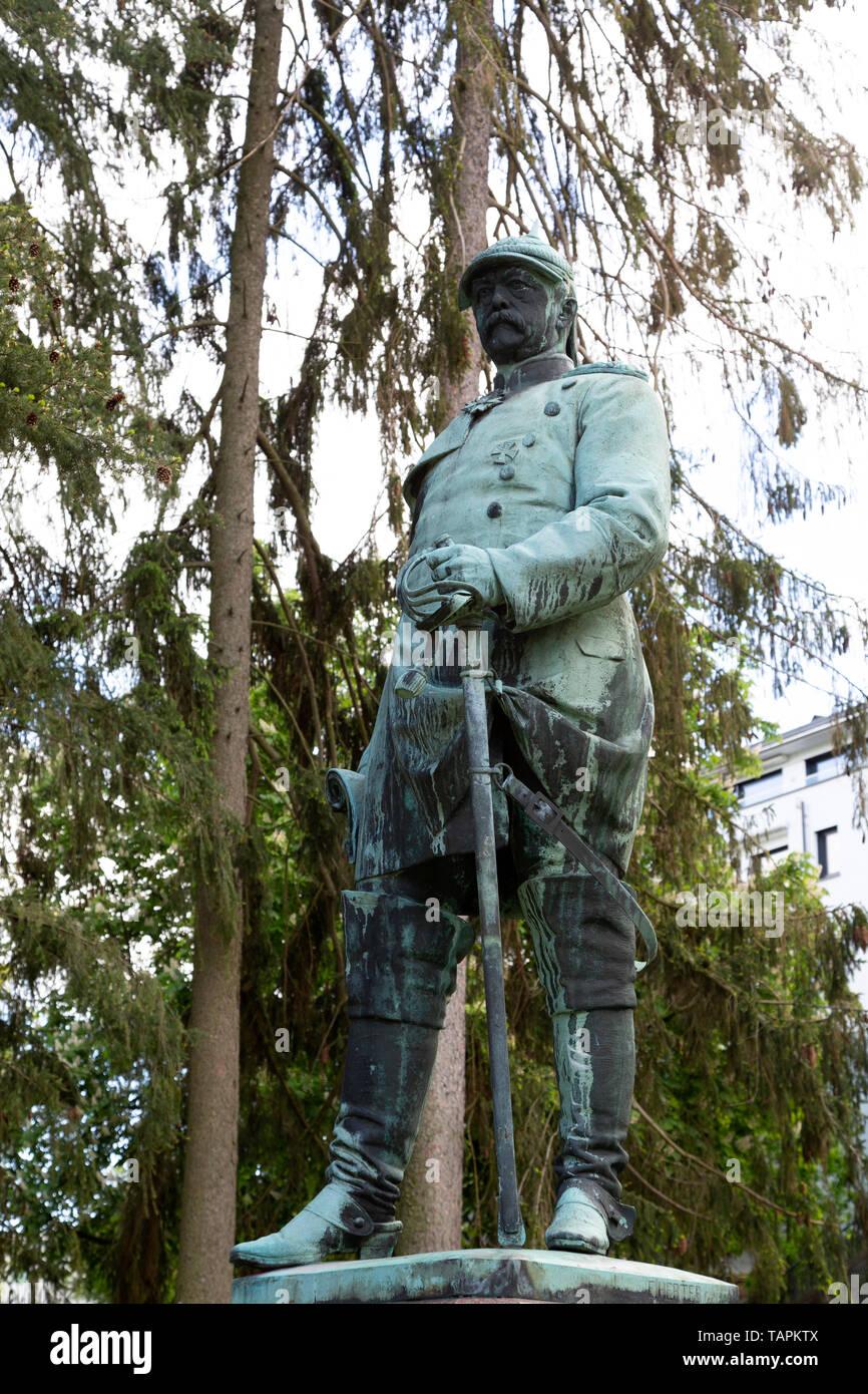 Statue of Otto von Bismarck in the Nerotal park in Wiesbaden, the state capital of Hesse, Germany. Bismarck, known as the Iron Chancellor, played a ke - Stock Image