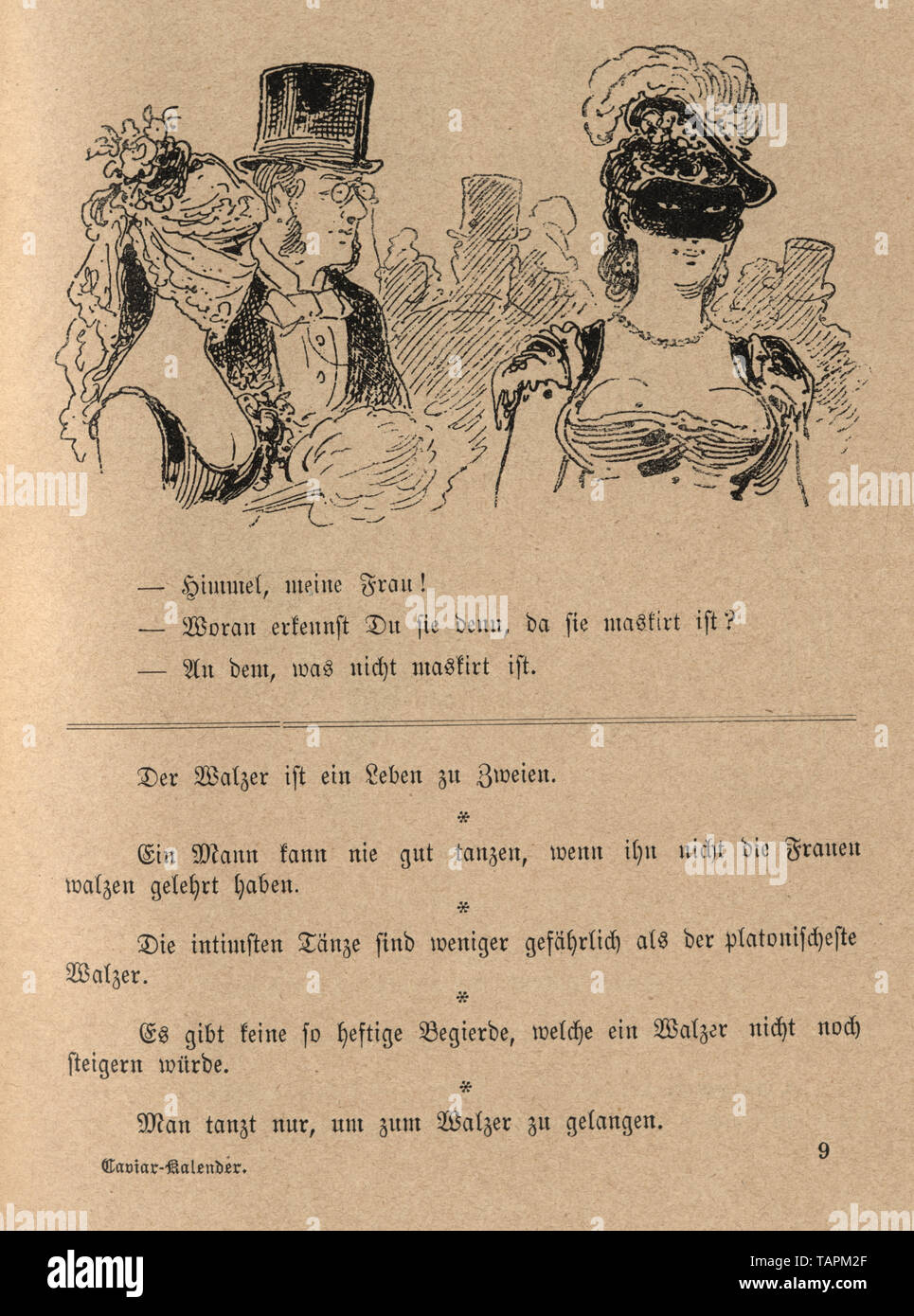 Victorian Cartoon of women at a masked ball, 1880s, German 19th Century Stock Photo