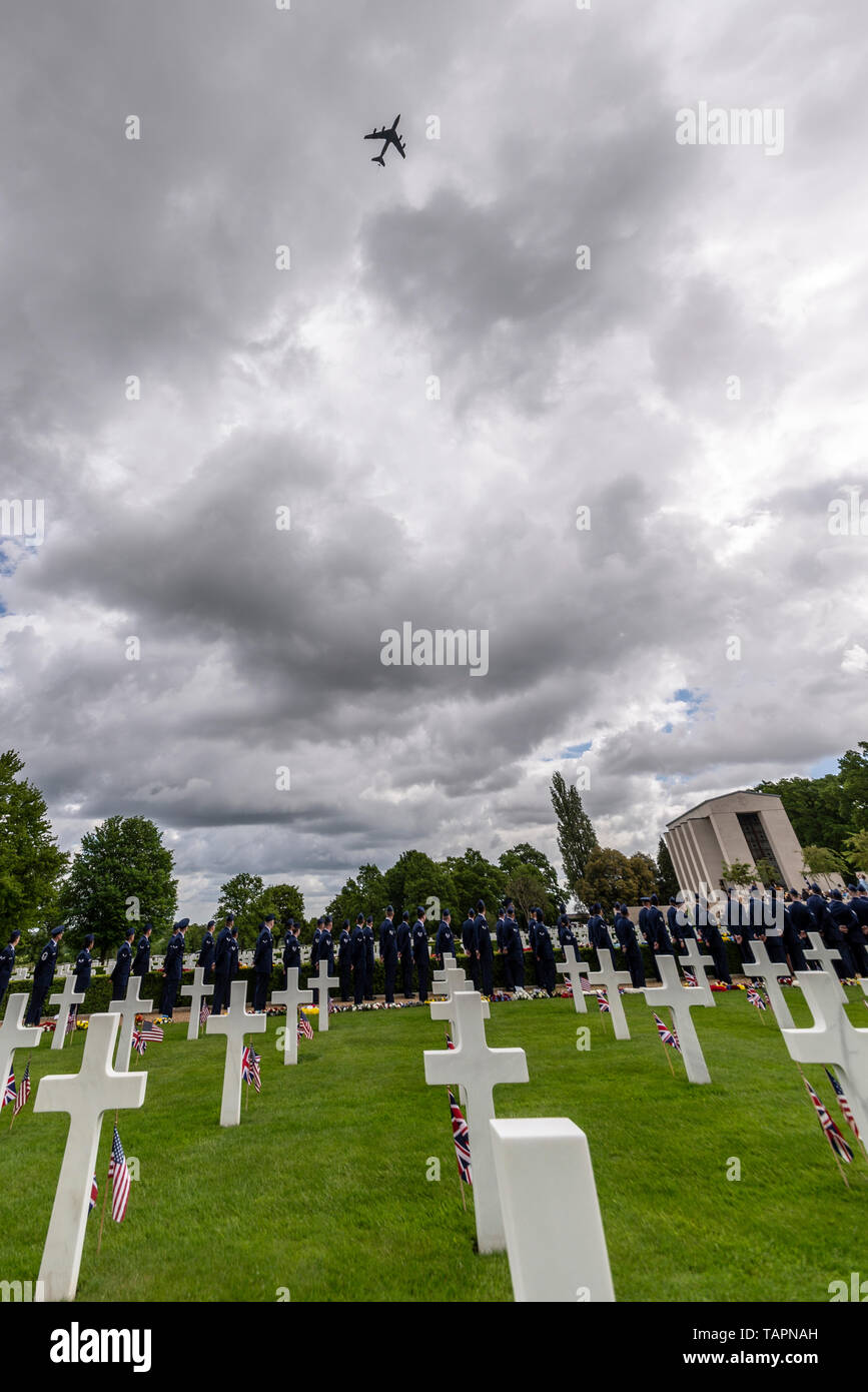 Memorial Day is a federal holiday in the US dedicated  to remembering and honouring people who have died while serving in the US Armed Forces. A commemoration service was held at the Cambridge American Cemetery in the UK where 3811 US war dead are interred and another 5127 missing are remembered on a memorial wall. Military personnel attended the ceremony alongside family of those honoured and public. A flypast took place overhead by USAF KC135 Stock Photo