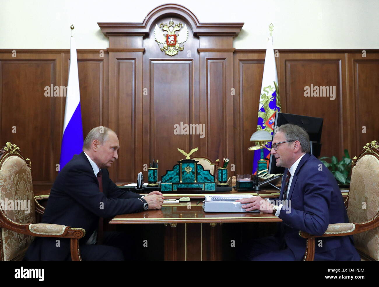 Moscow, Russia. 27th May, 2019. MOSCOW, RUSSIA - MAY 27, 2019: Russia's President Vladimir Putin (L) and Russian Presidential Commissioner for Entrepreneurs' Rights Boris Titov talk during a meeting at the Moscow Kremlin. Mikhail Klimentyev/Russian Presidential Press and Information Office/TASS Credit: ITAR-TASS News Agency/Alamy Live News - Stock Image