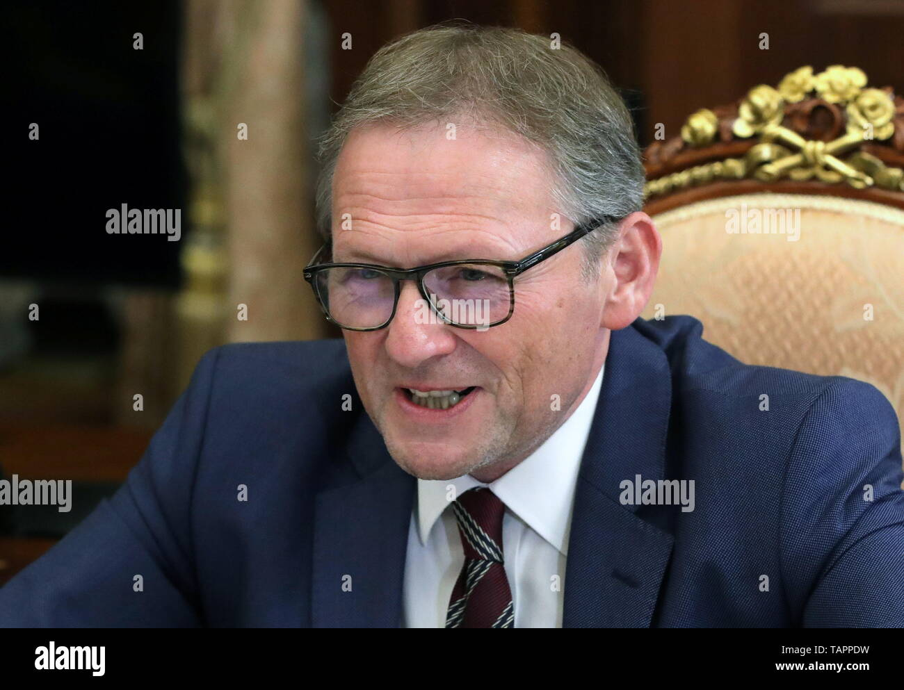 Moscow, Russia. 27th May, 2019. MOSCOW, RUSSIA - MAY 27, 2019: Russian Presidential Commissioner for Entrepreneurs' Rights Boris Titov during a meeting with Russia's President Vladimir Putin at the Moscow Kremlin. Mikhail Klimentyev/Russian Presidential Press and Information Office/TASS Credit: ITAR-TASS News Agency/Alamy Live News - Stock Image