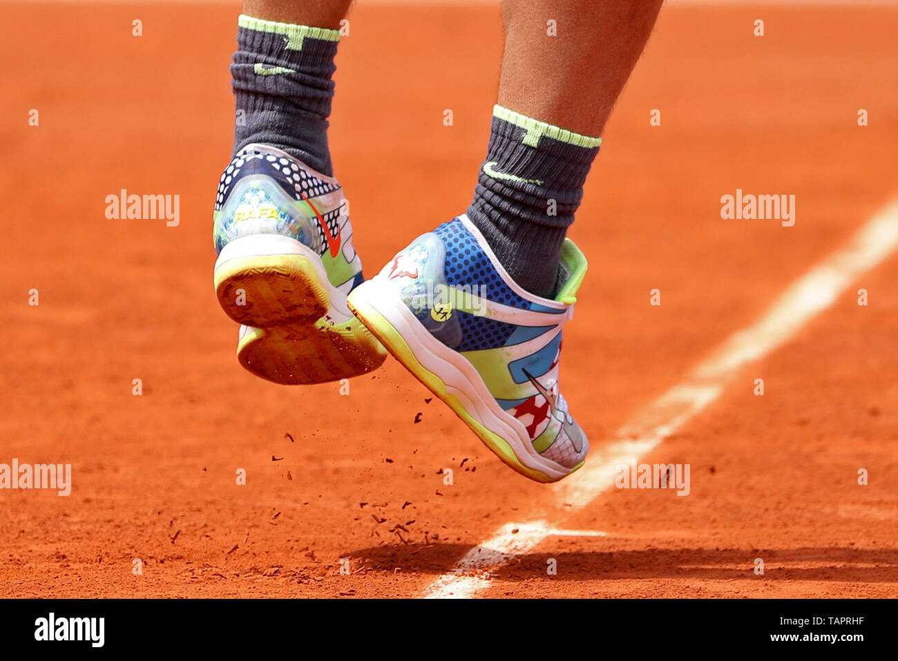 27th May 2019 Roland Garros Paris France French Open Tennis Tournament Rafael Nadal Esp Wears His Personalised Nike Shoes Stock Photo Alamy
