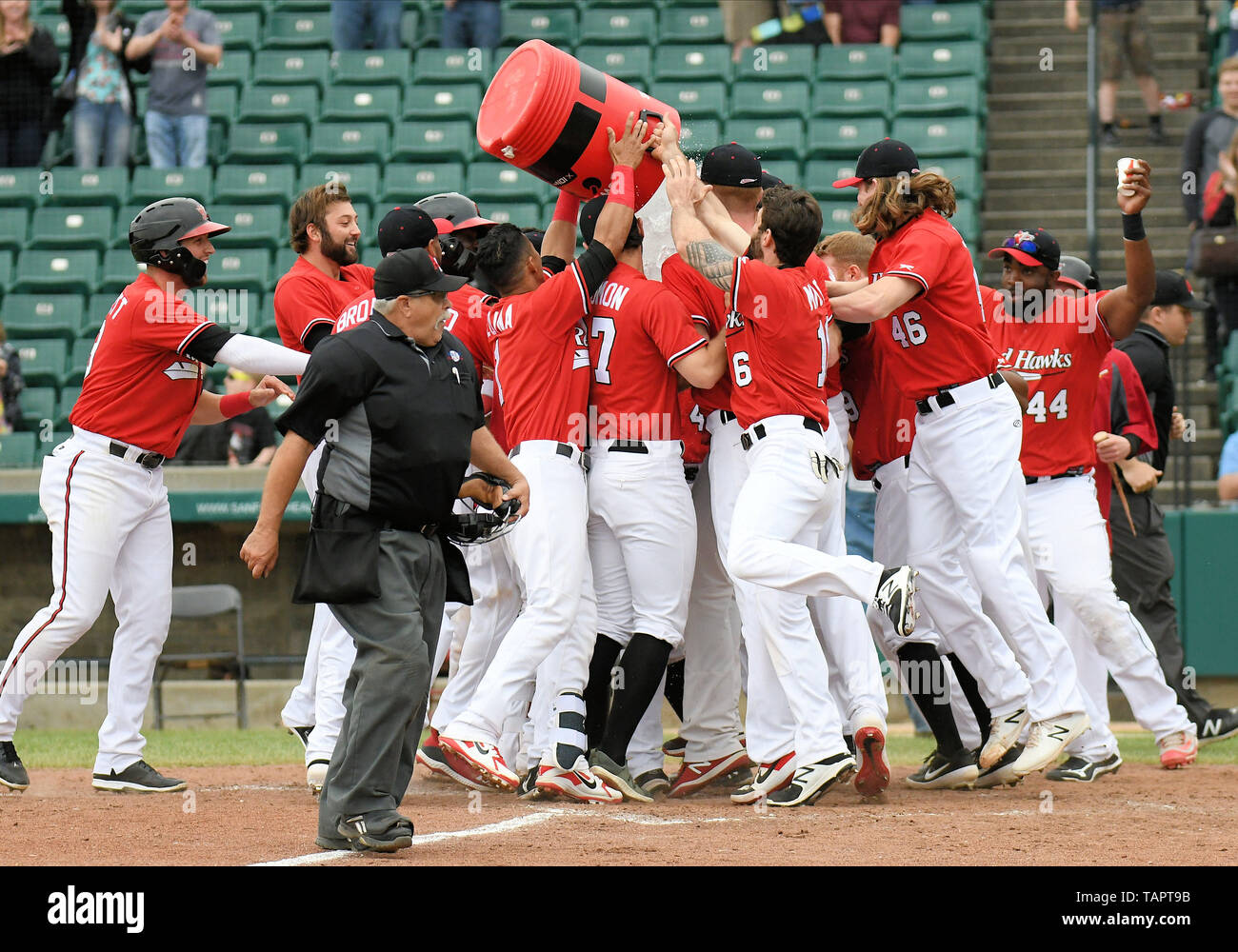 Fargo, ND, USA  26th May, 2019  Redhawks players celebrate