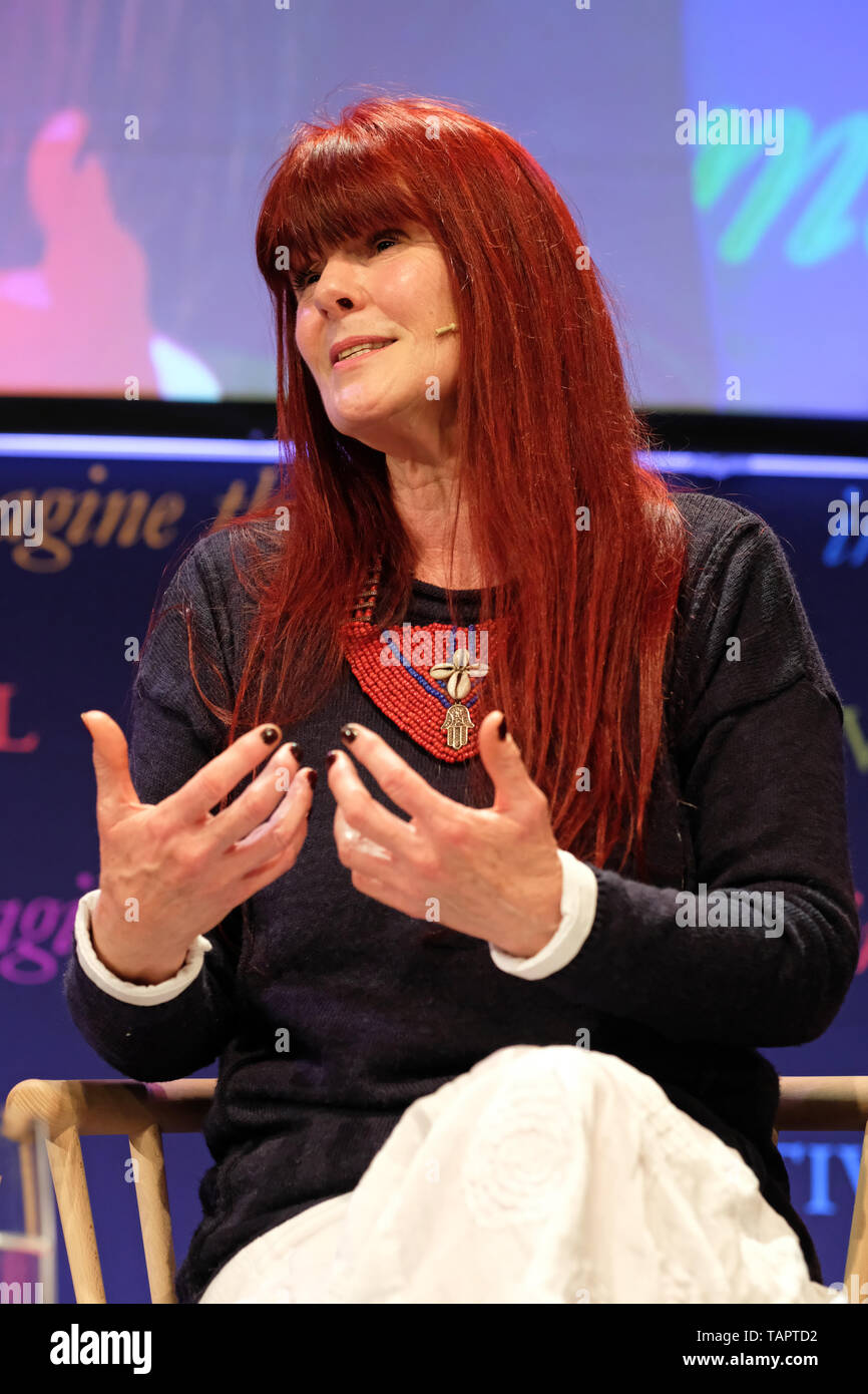 Hay Festival, Hay on Wye, Powys, Wales, UK - Monday 27th May 2019 - Kate Nicholls on stage at the Hay Festival talking about her book Under the Camelthorn Tree about her life living in Botswana.  Photo Steven May / Alamy Live News - Stock Image