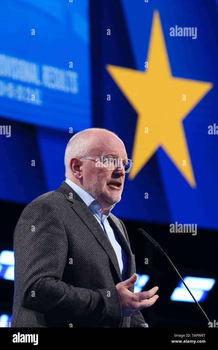 Brussels, Belgium. 27th May 2019. Frans Timmermans, vice-president of the European Commission and lead candidate of the European social-democrats, speaks at the European Parliament in Brussels, Belgium, May 27, 2019. Voters in Germany, Lithuania, Cyprus, Bulgaria, Greece and Italy cast their ballots on Sunday in elections to the European Parliament (EP). Credit: Xinhua/Alamy Live News Stock Photo