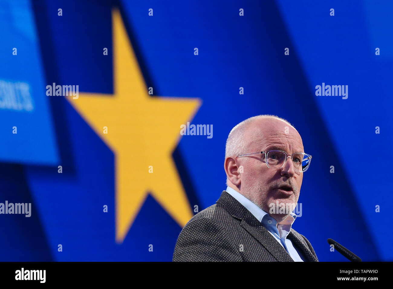 Brussels, Belgium. 27th May 2019. Frans Timmermans, vice-president of the European Commission and lead candidate of the European social-democrats, speaks at the European Parliament in Brussels, Belgium, May 27, 2019. Voters in Germany, Lithuania, Cyprus, Bulgaria, Greece and Italy cast their ballots on Sunday in elections to the European Parliament (EP). Credit: Xinhua/Alamy Live News - Stock Image
