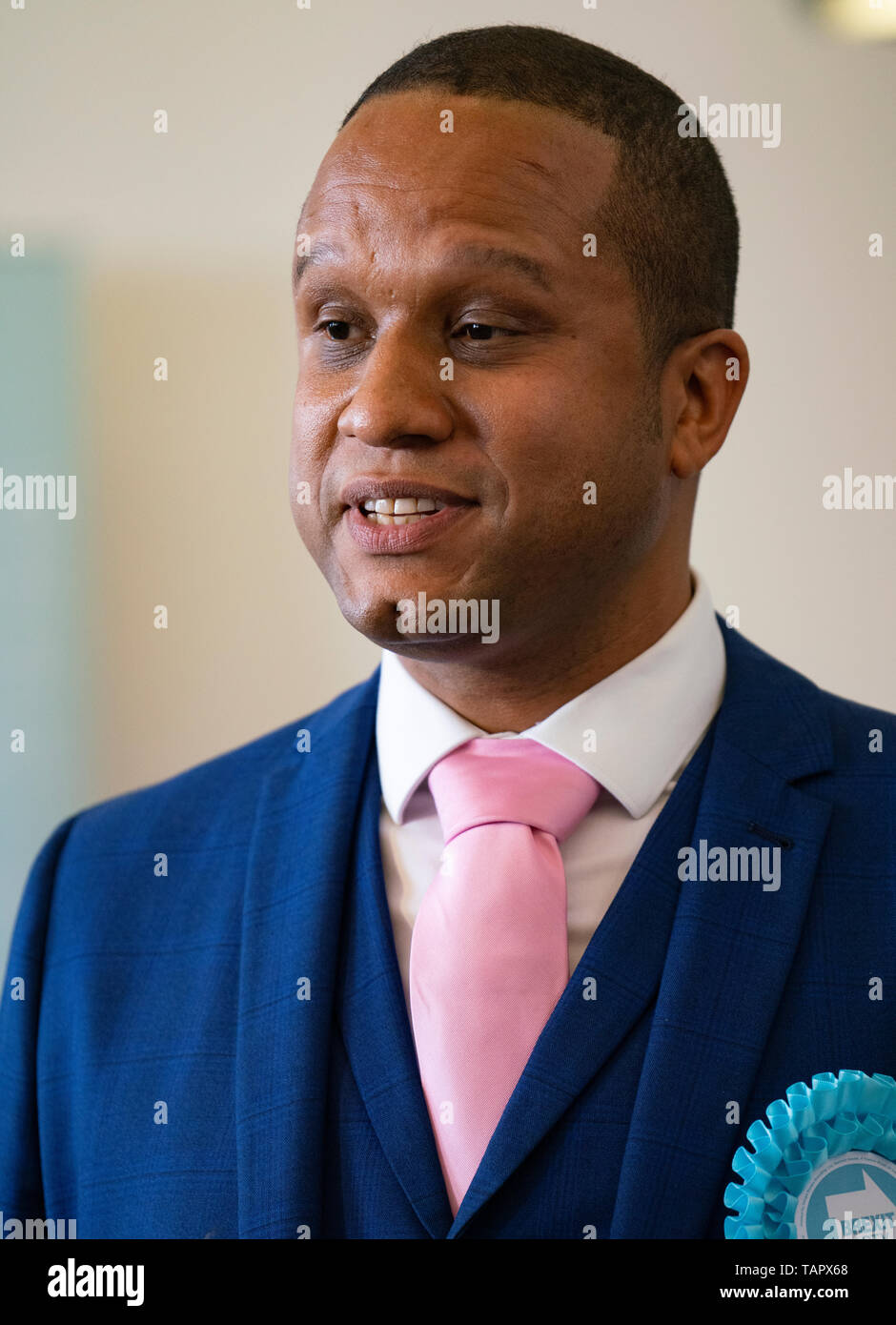 Edinburgh, Scotland, UK. 27th May, 2019. The six new Scottish MEPs are declared at the City Chambers in Edinburgh, Pictured Louis Stedman-Bruce from the Brexit Party Credit: Iain Masterton/Alamy Live News Stock Photo