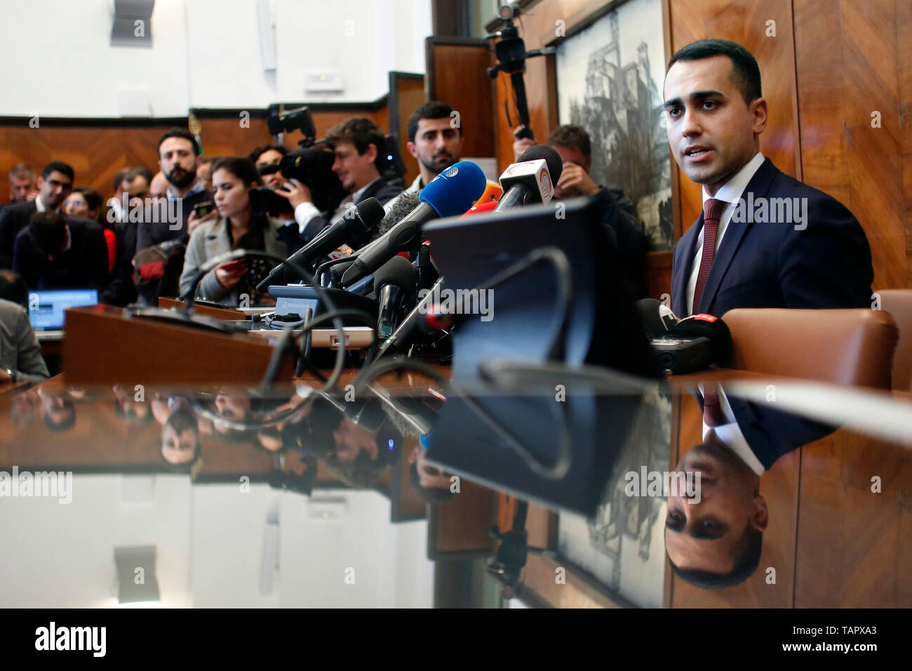 Luigi Di Maio  Rome May 27th 2019. Press conference of the Vice-Premier Luigi Di Maio of Movement 5 Stars after the results of the European elections 2019. Foto Samantha Zucchi Insidefoto - Stock Image